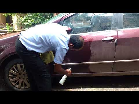 Car cleaning with using microfiber cloth