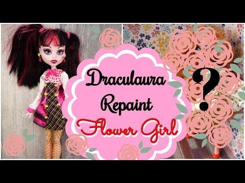 Flower Girl  - Monster High Draculaura Doll Repaint  How to customize BJD Easy  Custom Faceup Barbie