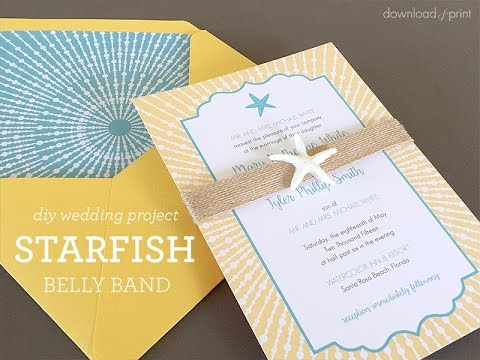 Beach Wedding Invitation with Starfish Belly Band