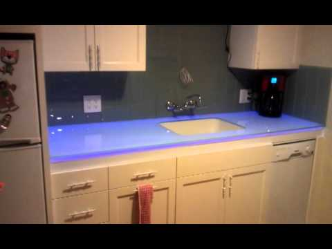 Color changing  solid glass countertop