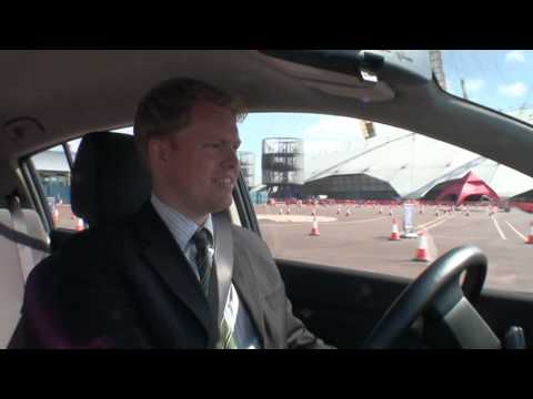James Partington test drives the Nissan LEAF at the O2 arena