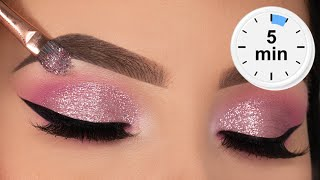 5 MINUTE Glitter Eye Makeup Tutorial | Prom Eye Makeup