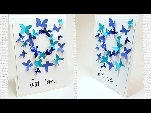 Butterfly greeting card design making ideas tutorial easy for friend, for mom / DIY Birthday Card
