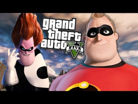 GTA 5 Mods - SYNDROME VS MR INCREDIBLE MOD (GTA 5 Mods Gameplay)