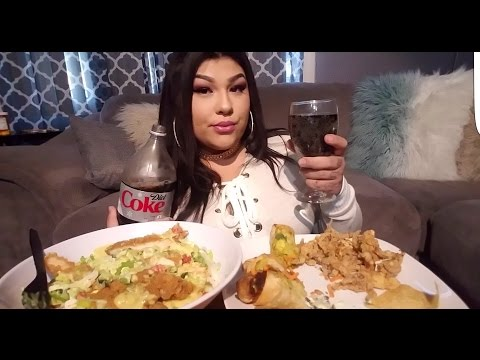 My life while I eat MUKBANG avocado egg rolls  and honey mustard chicken salad fried squid