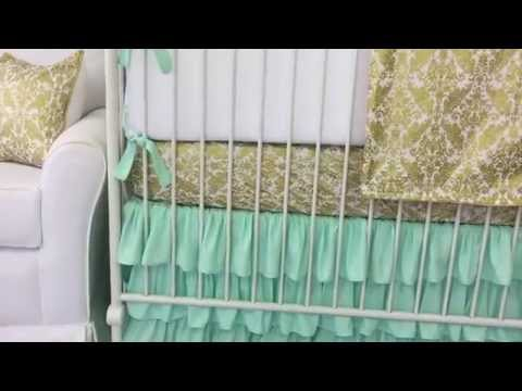 Mint and Gold Damask Crib Bedding by Caden Lane