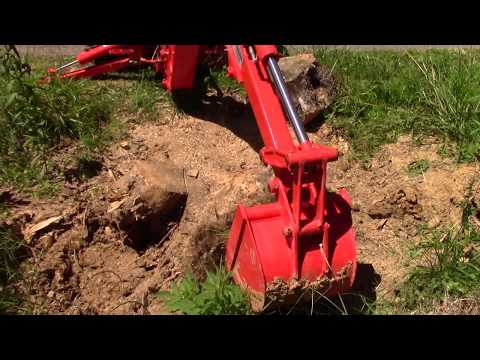 Using Chain Saw and Kubota L3301 Tractor Backhoe to Remove a Tree Stump