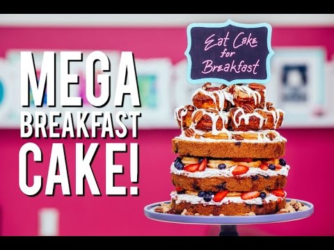 How to Make a MEGA BREAKFAST CAKE! With Easy To Make Cinnamon Rolls, Fruit and Waffles!