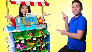 Emma Pretend Play as Toy Store Cashier