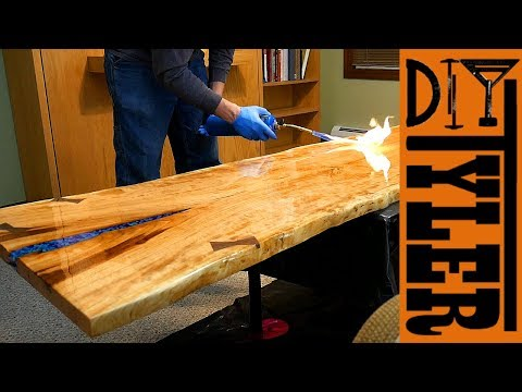 Live Edge Epoxy River Desk with Black Galvanized Pipe Base