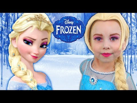 Kids Makeup FROZEN Elsa with Colours Paint. Alisa DRESS UP & Play with GIANT DOLL