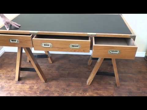 Teak Campaign Desk imported from Hong Kong