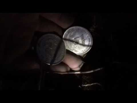 Night time detecting (2)  One Troy ounce .999 silver. Both from the same hole. School yard.