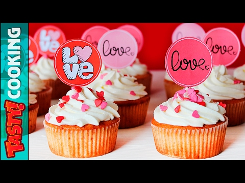 Strawberry Valentine's Day Cupcakes Recipe ❤ Strawberries and Cream Cupcakes ❤ Tasty Cooking