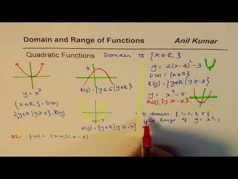 How to find domain and range of quadratic functions