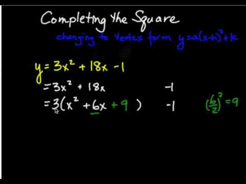 Changing a Quadratic from Standard Form to Vertex Form