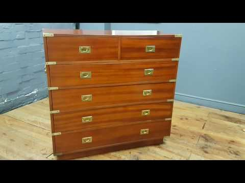 Excellent Military Campaign Style Mahogany Chest of Drawers