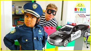 Ryan Pretend Play Police Officer Helps find Treasure Toys!!!!