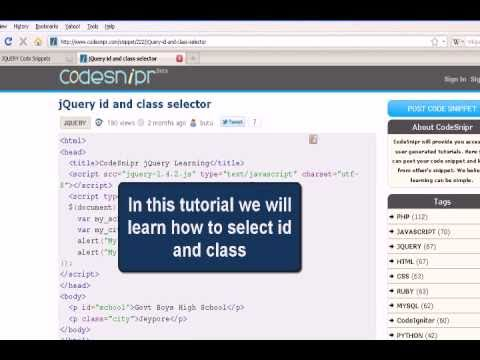 JUERY Tutoriral : jQuery id and class selector