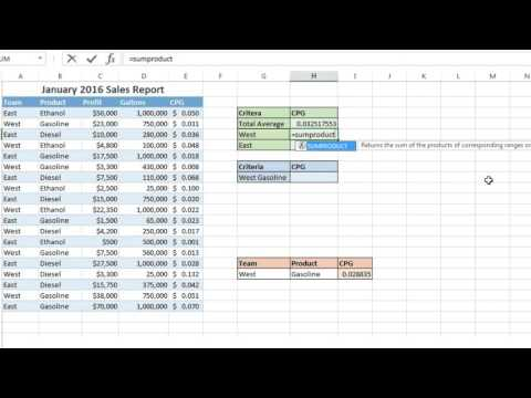 SumProduct: Finding Weighted Averages in Excel