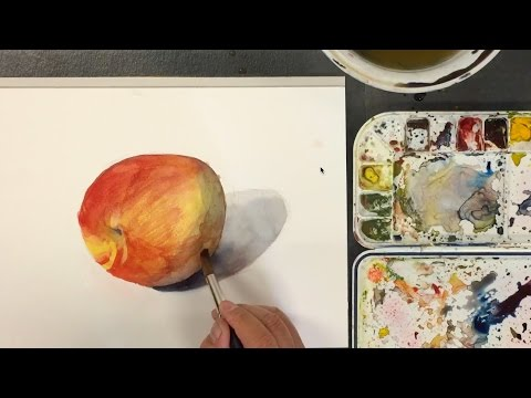 How to Paint a Peach with Glaze Technique in Watercolor