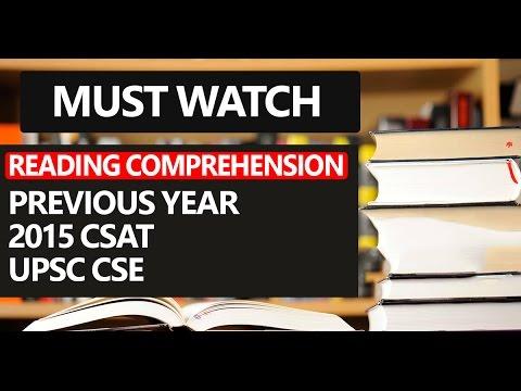 Reading Comprehension 2015 CSAT- Civil Services Aptitude Test [Previous Year] (UPSC CSE/IAS)