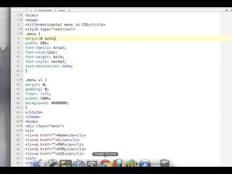 How to create horizontal menu in CSS