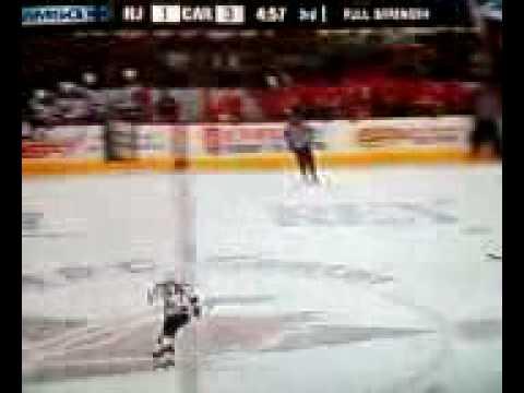 Devils Change Goalie Scott Clemmenson on the Fly vs Hurricanes [ Jan 6, 09 ]