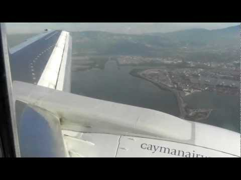 Cayman Airways landing Kingston, Jamaica