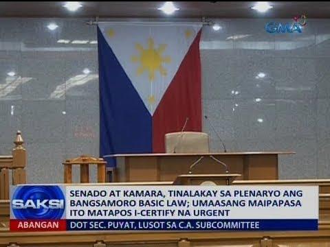 Saksi: Senado at Kamara, tinalakay sa plenaryo ang Bangsamoro Basic Law