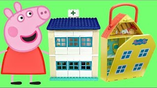 Compilation of PEPPA PIG Playsets with Hospital George & School Classroom Duplo