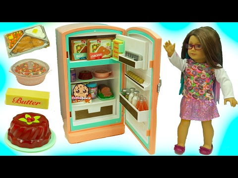 American Girl Fridge Playset Maryellen's Refrigerator & Food Set with Shopkins Surprise
