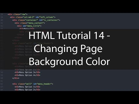 HTML Tutorial 14 - Changing Page Background Color
