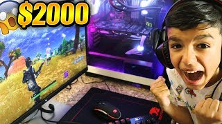 Download Surprising Little Brother With NEW Fortnite Gaming PC! HE FREAKS OUT! Video