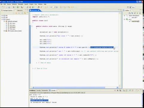 Java tutorial in Eclipse (ArrayList)