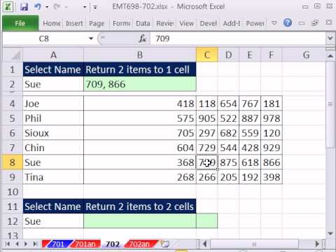 Excel Magic Trick 702: VLOOKUP Return Two Values to One Cell or Two Cells