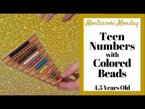 Montessori Colored Bead Stair for Teaching Teen Numbers 11-19 to Preschoolers in Homeschool Setting