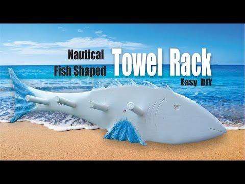DIY Beach Decor Nautical Fish Towel Rack