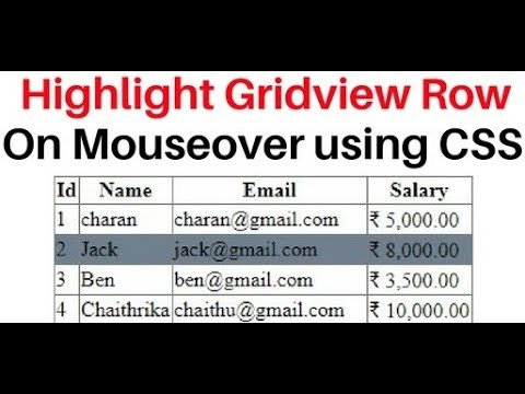 highlight gridview row background color change on mouseover using css