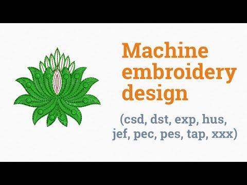Green lotus. Machine embroidery design (csd, dst, exp, hus, jef, pec, pes, tap, xxx)