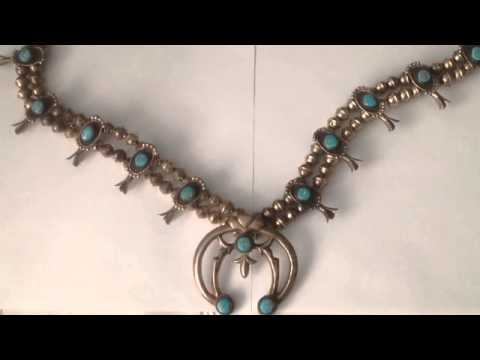Navajo Squash Blossom Sterling Necklace Turquoise Naja History