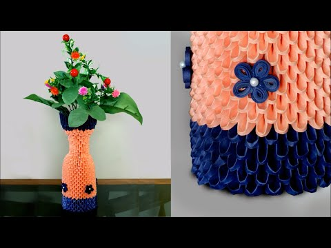 Handmade Paper Flower Vase || 3d Origami Flower Vase DIY || How to make flower vase using Paper