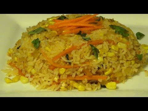 How to make corn fried rice recepie- Carrot and Corn fried rice by Homekitchen