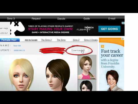 Sims 2 Tutorial: How to download Custom hair for The Sims 2