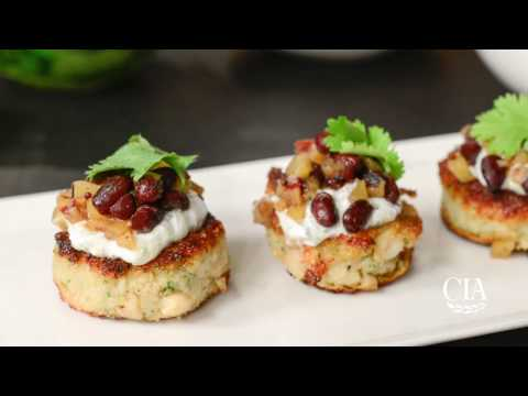 Indian Spiced Cauliflower and White Bean Patties with Pickled Beans and Yogurt Sauce