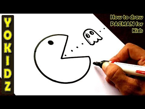 How to draw PACMAN for kids