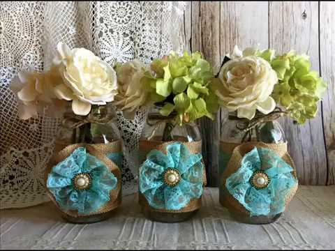 Burlap rustic wedding mason jars favor bags bridal shower baby shower