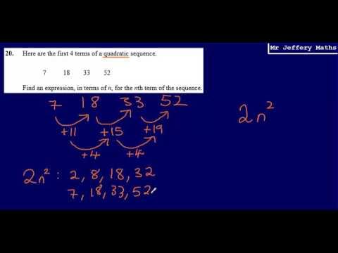 Quadratic Sequences Nth Term (GCSE Maths - Edexcel Practice Tests Set 2 - 2H - Question 20)