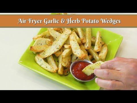 Air Fryer Garlic & Herb Potato Wedges ~ Airfryer Potato Wedges ~ Homeleader Air Fryer
