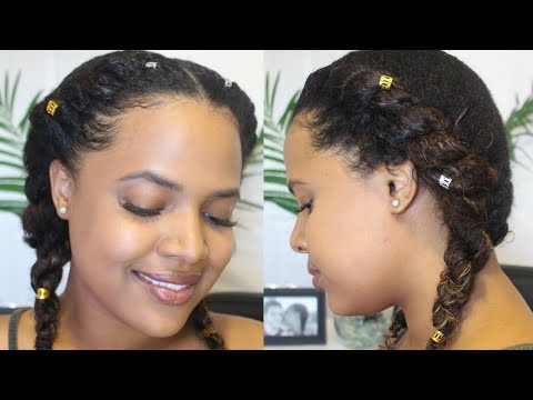 Quick & Easy Two Flat Twists On Natural Hair With KinkyCurlyYaki Clip-In Hair Extensions